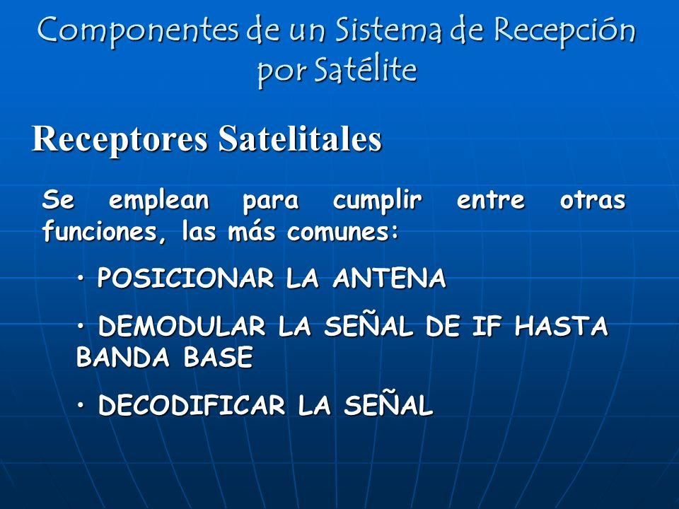 Receptores Satelitales Componentes de un Sistema de Recepción por Satélite Se emplean para cumplir entre otras funciones, las más comunes: POSICIONAR