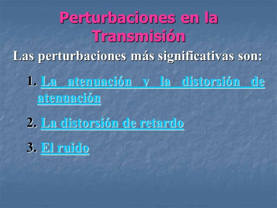 Perturbaciones en la Transmisión Capacidad del Canal: Es la velocidad a la que se pueden transmitir los datos en un canal o ruta de comunicación de datos.
