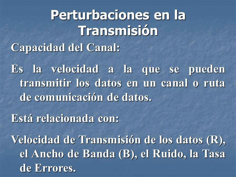 Capacidad del Canal Velocidad de Transmisión de los Datos: es la velocidad expresada en bits por segundo (bps), a la que se pueden transmitir los datos.