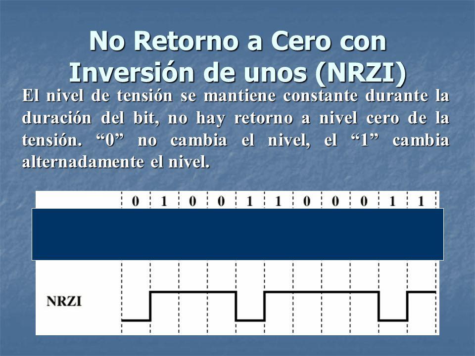 No Retorno a Cero con Inversión de unos (NRZI) El caso de NRZI, es una codificación diferencial.