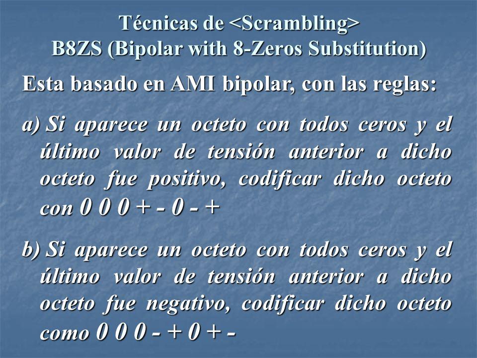 Técnicas de B8ZS (Bipolar with 8-Zeros Substitution) V: violación de secuencia bipolar B: bit bipolar valido Estrategia: Pulso anterior: + 0 0 0 + - 0 - + Pulso anterior: - 0 0 0 - + 0 + -