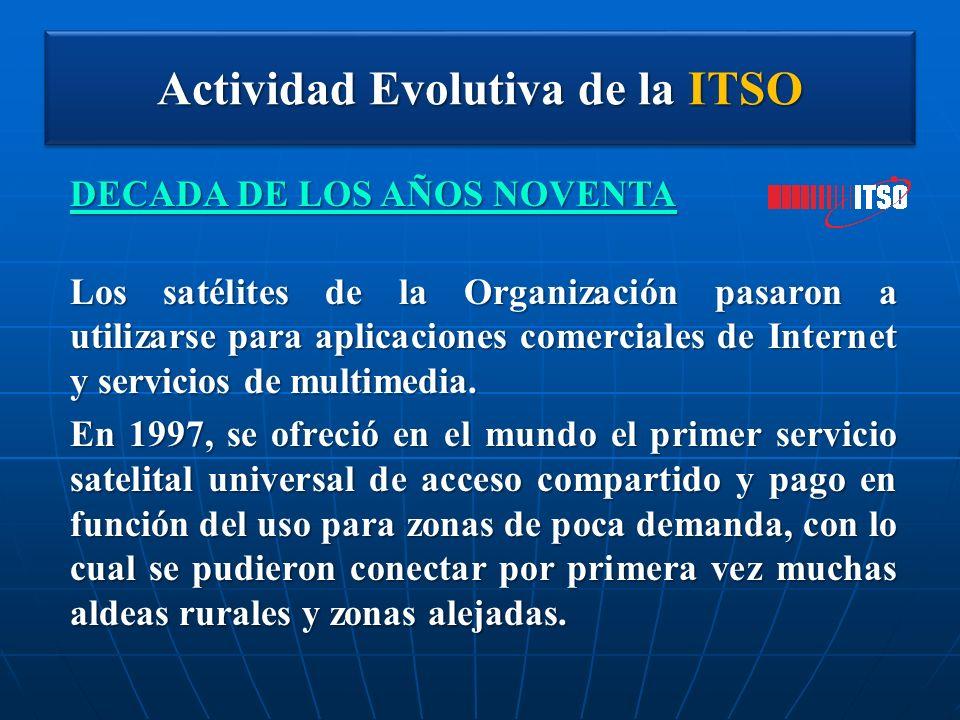 Actividad Evolutiva de la ITSO DECADA DE LOS AÑOS NOVENTA Los satélites de la Organización pasaron a utilizarse para aplicaciones comerciales de Inter