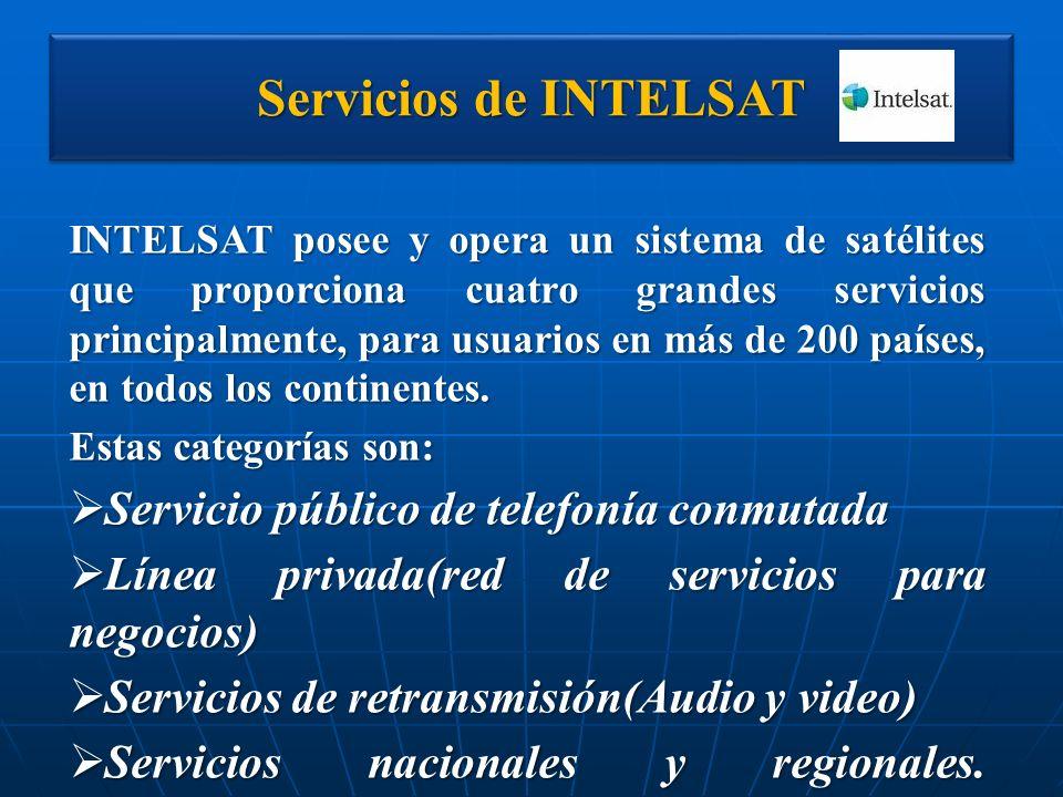 Servicios de INTELSAT INTELSAT posee y opera un sistema de satélites que proporciona cuatro grandes servicios principalmente, para usuarios en más de
