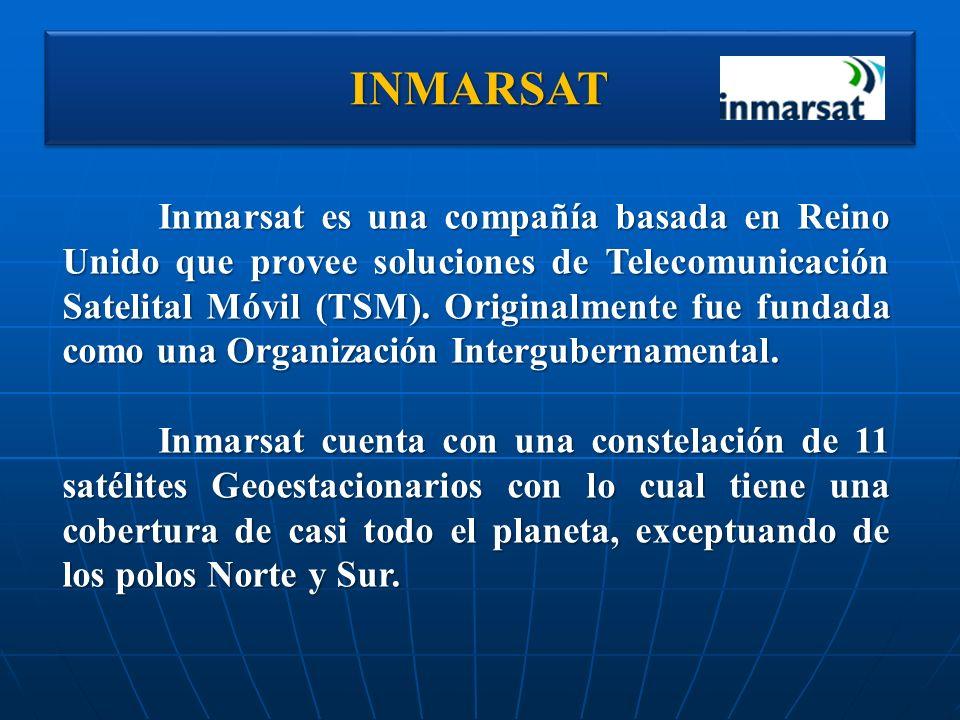 INMARSATINMARSAT Inmarsat es una compañía basada en Reino Unido que provee soluciones de Telecomunicación Satelital Móvil (TSM). Originalmente fue fun