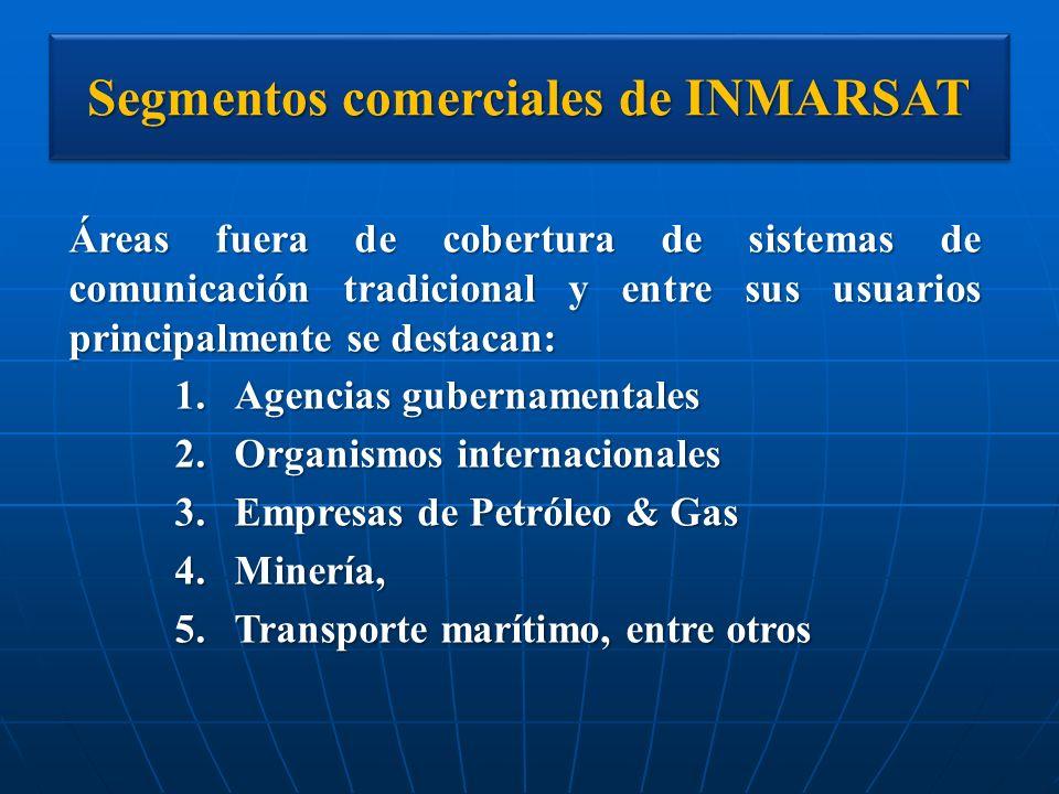 Segmentos comerciales de INMARSAT Áreas fuera de cobertura de sistemas de comunicación tradicional y entre sus usuarios principalmente se destacan: 1.