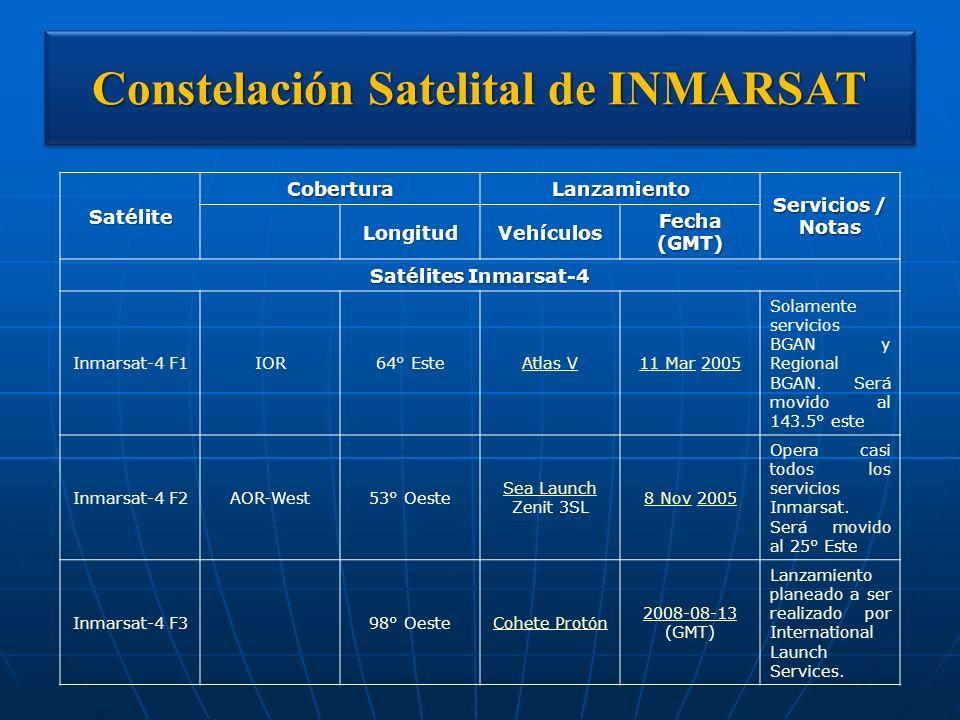 Constelación Satelital de INMARSAT SatéliteCoberturaLanzamiento Servicios / Notas LongitudVehículos Fecha (GMT) Satélites Inmarsat-4 Inmarsat-4 F1IOR6
