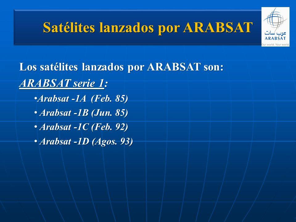 Satélites lanzados por ARABSAT Los satélites lanzados por ARABSAT son: ARABSAT serie 1: Arabsat -1A (Feb. 85) Arabsat -1A (Feb. 85) Arabsat -1B (Jun.