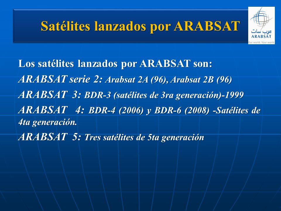 Satélites lanzados por ARABSAT Los satélites lanzados por ARABSAT son: ARABSAT serie 2: Arabsat 2A (96), Arabsat 2B (96) ARABSAT 3: BDR-3 (satélites d