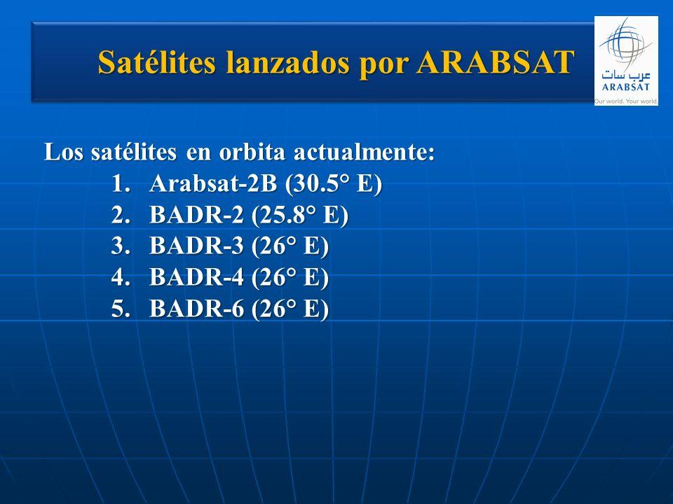 Satélites lanzados por ARABSAT Los satélites en orbita actualmente: 1.Arabsat-2B (30.5° E) 2.BADR-2 (25.8° E) 3.BADR-3 (26° E) 4.BADR-4 (26° E) 5.BADR