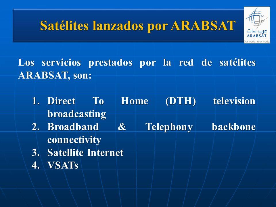 Satélites lanzados por ARABSAT Los servicios prestados por la red de satélites ARABSAT, son: 1.Direct To Home (DTH) television broadcasting 2.Broadban
