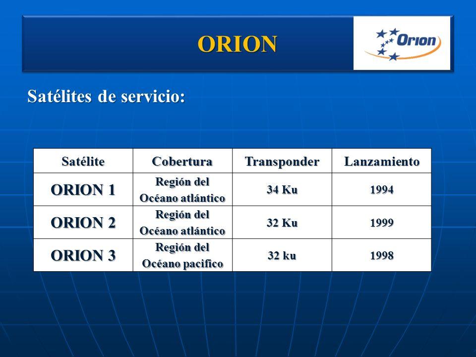 ORIONORION Satélites de servicio: SatéliteCoberturaTransponderLanzamiento ORION 1 Región del Océano atlántico 34 Ku 1994 ORION 2 Región del Océano atl