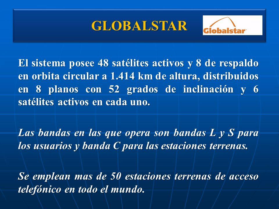 GLOBALSTARGLOBALSTAR El sistema posee 48 satélites activos y 8 de respaldo en orbita circular a 1.414 km de altura, distribuidos en 8 planos con 52 gr