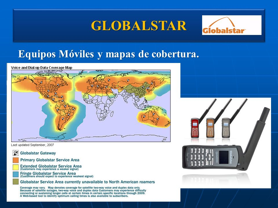 GLOBALSTARGLOBALSTAR Equipos Móviles y mapas de cobertura.