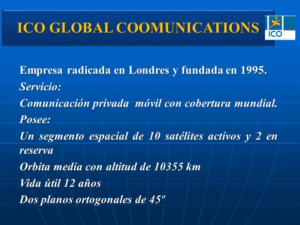 ICO GLOBAL COOMUNICATIONS Empresa radicada en Londres y fundada en 1995. Servicio: Comunicación privada móvil con cobertura mundial. Posee: Un segment