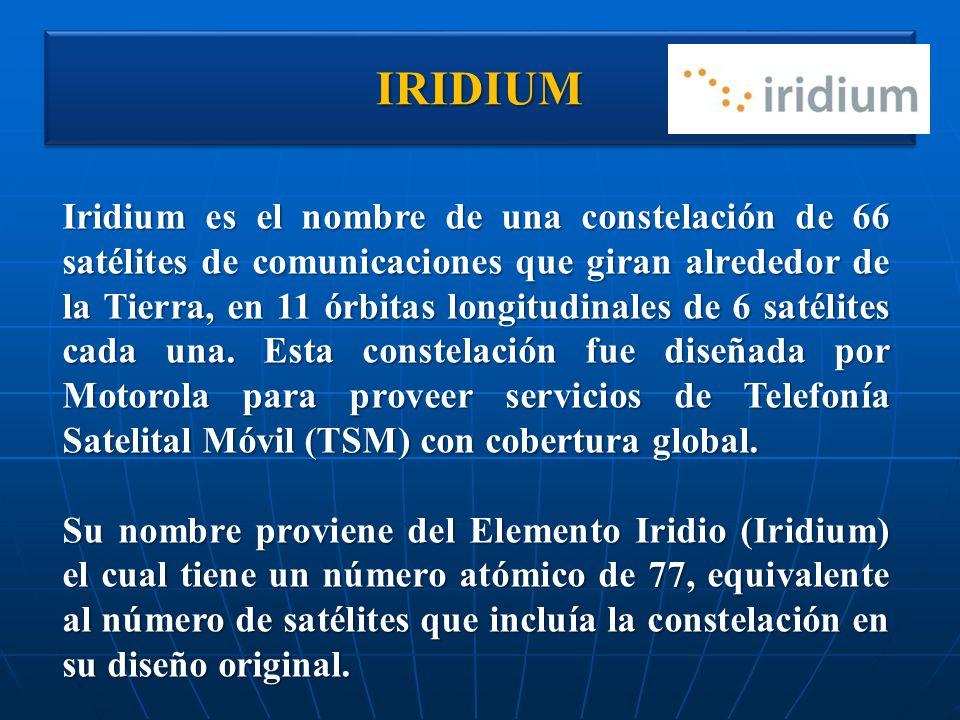 IRIDIUMIRIDIUM Iridium es el nombre de una constelación de 66 satélites de comunicaciones que giran alrededor de la Tierra, en 11 órbitas longitudinal