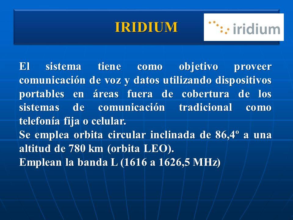 IRIDIUMIRIDIUM El sistema tiene como objetivo proveer comunicación de voz y datos utilizando dispositivos portables en áreas fuera de cobertura de los