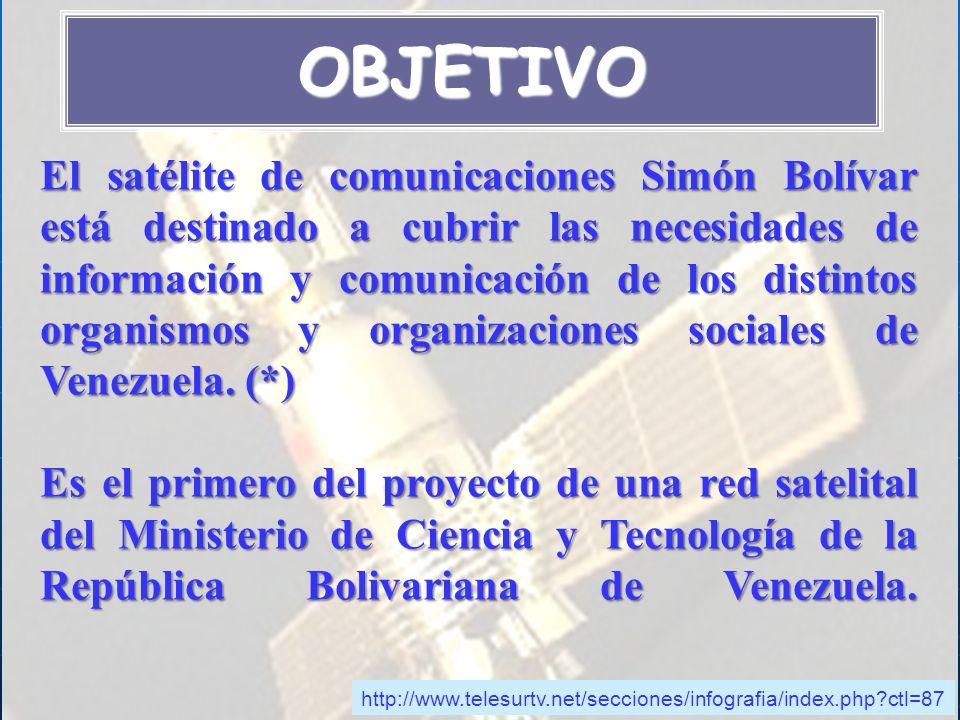 El satélite de comunicaciones Simón Bolívar está destinado a cubrir las necesidades de información y comunicación de los distintos organismos y organi