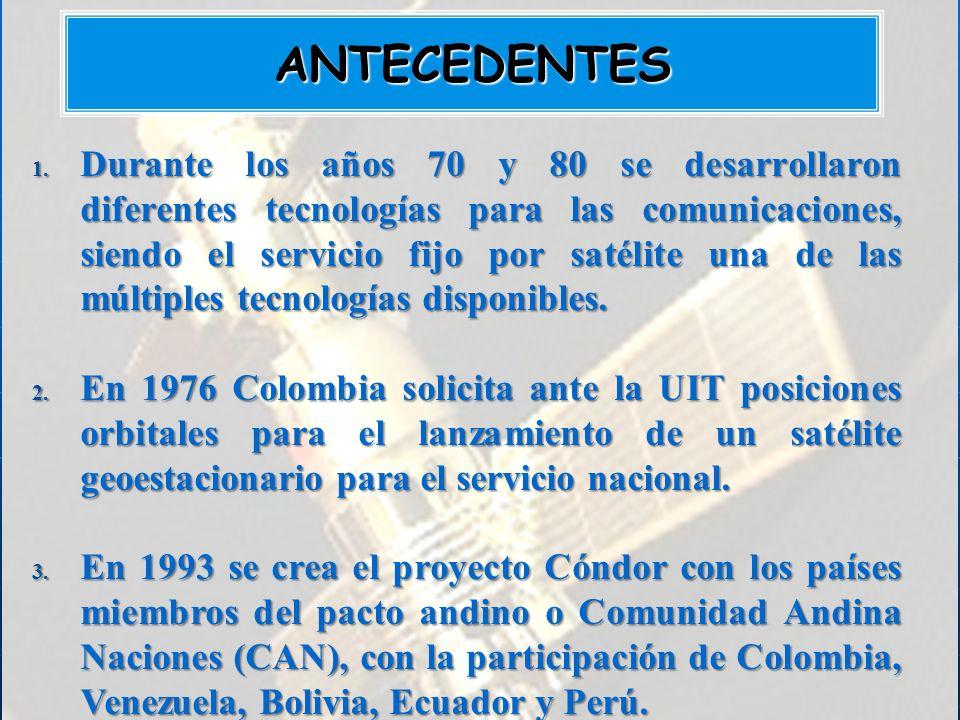 1. Durante los años 70 y 80 se desarrollaron diferentes tecnologías para las comunicaciones, siendo el servicio fijo por satélite una de las múltiples