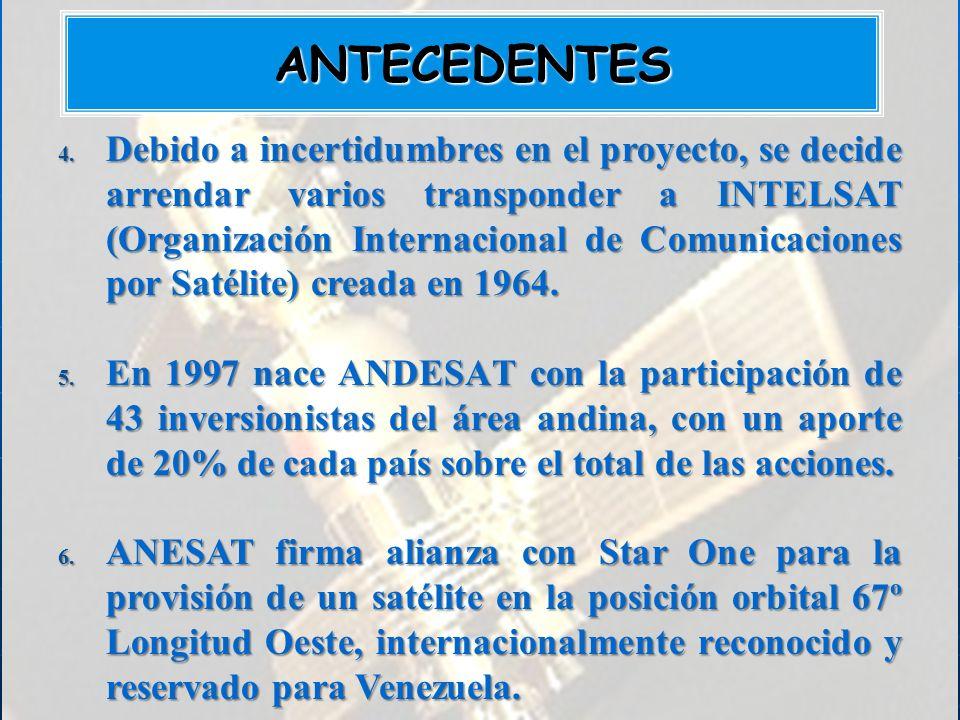 4. Debido a incertidumbres en el proyecto, se decide arrendar varios transponder a INTELSAT (Organización Internacional de Comunicaciones por Satélite