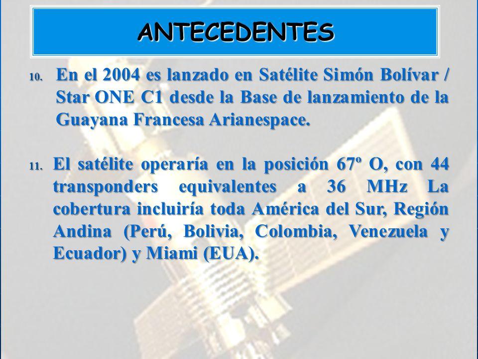 10. En el 2004 es lanzado en Satélite Simón Bolívar / Star ONE C1 desde la Base de lanzamiento de la Guayana Francesa Arianespace. 11. El satélite ope