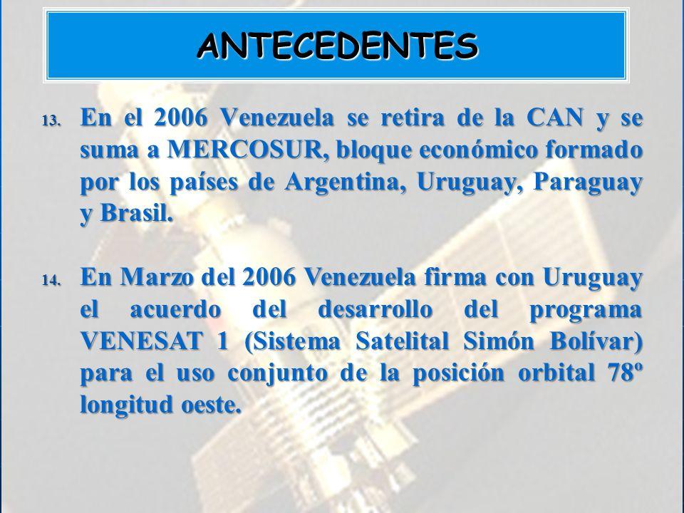 13. En el 2006 Venezuela se retira de la CAN y se suma a MERCOSUR, bloque económico formado por los países de Argentina, Uruguay, Paraguay y Brasil. 1
