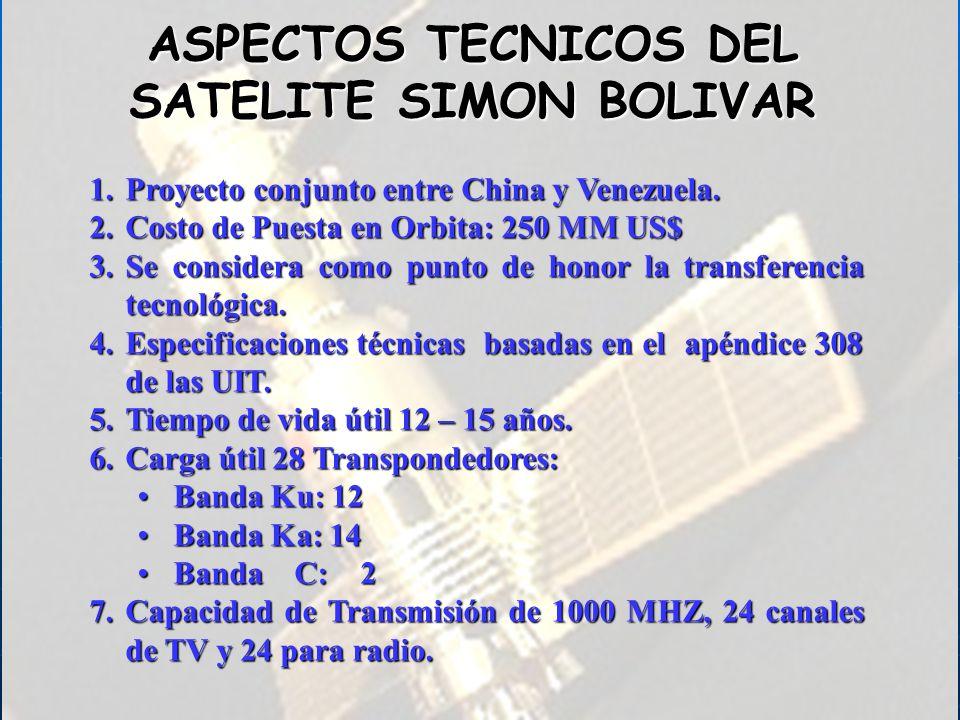 ASPECTOS TECNICOS DEL SATELITE SIMON BOLIVAR 1.Proyecto conjunto entre China y Venezuela. 2.Costo de Puesta en Orbita: 250 MM US$ 3.Se considera como