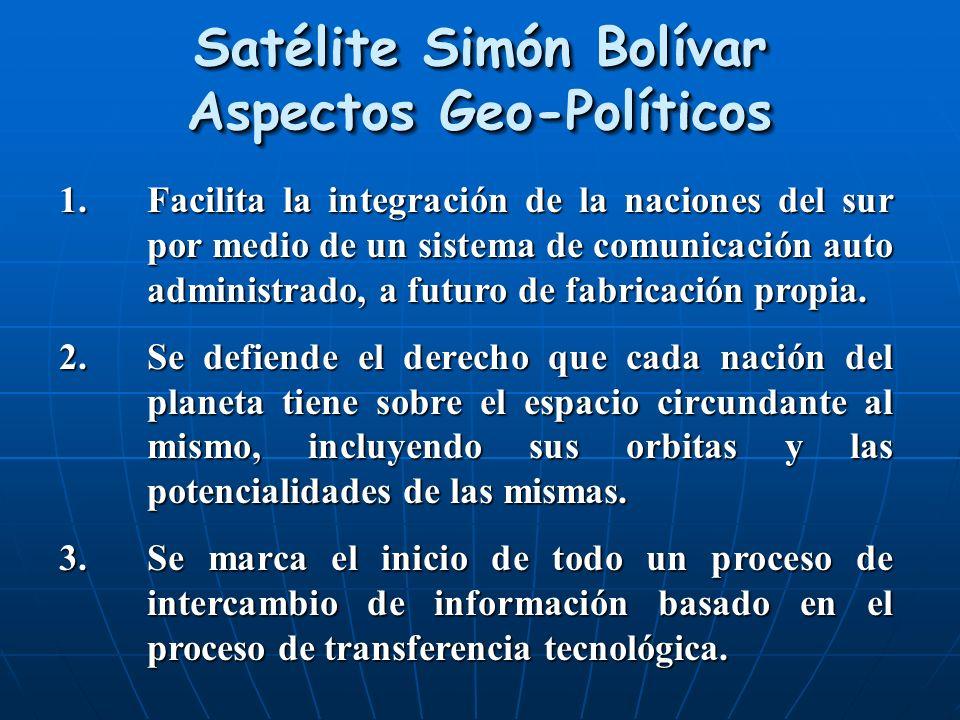 Satélite Simón Bolívar Aspectos Geo-Políticos 1.Facilita la integración de la naciones del sur por medio de un sistema de comunicación auto administra