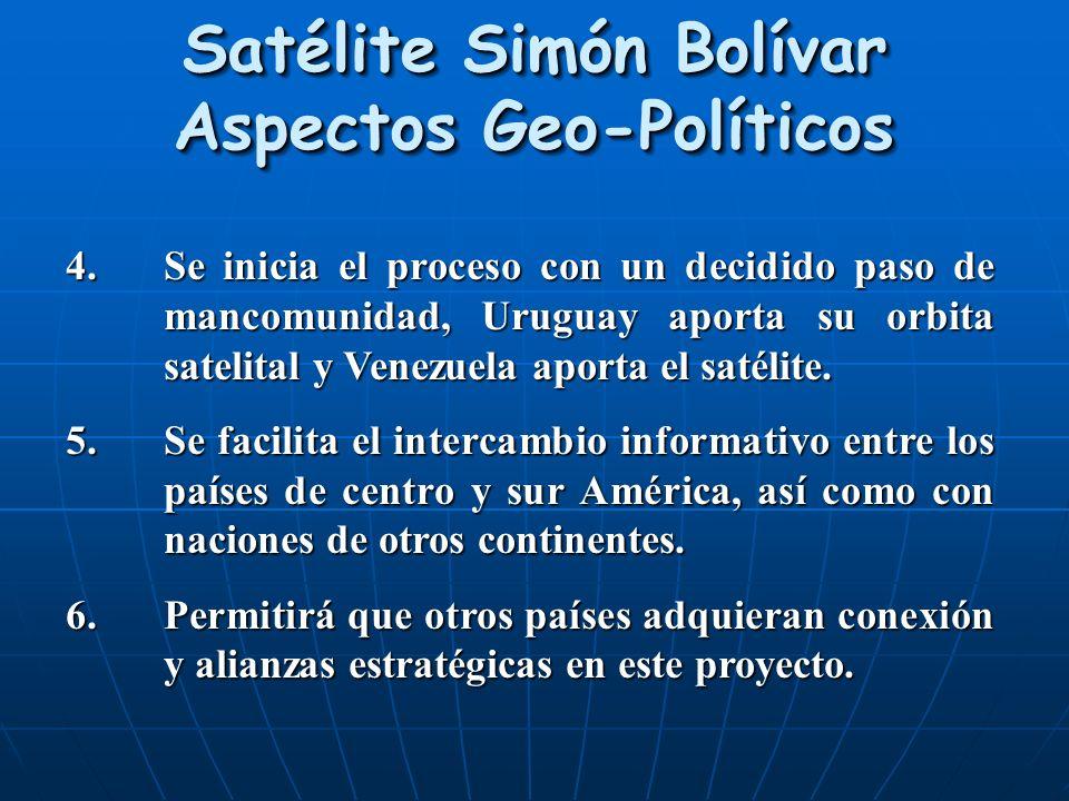 Satélite Simón Bolívar Aspectos Geo-Políticos 4.Se inicia el proceso con un decidido paso de mancomunidad, Uruguay aporta su orbita satelital y Venezu