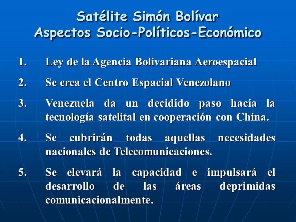 Satélite Simón Bolívar Aspectos Socio-Políticos-Económico 1.Ley de la Agencia Bolivariana Aeroespacial 2.Se crea el Centro Espacial Venezolano 3.Venez