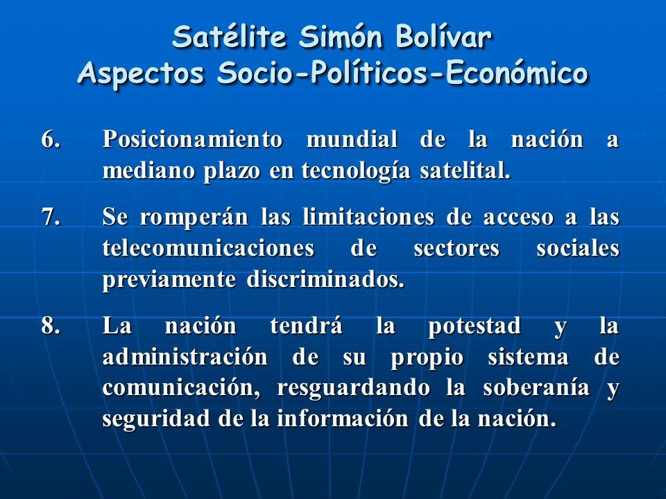 6.Posicionamiento mundial de la nación a mediano plazo en tecnología satelital. 7.Se romperán las limitaciones de acceso a las telecomunicaciones de s