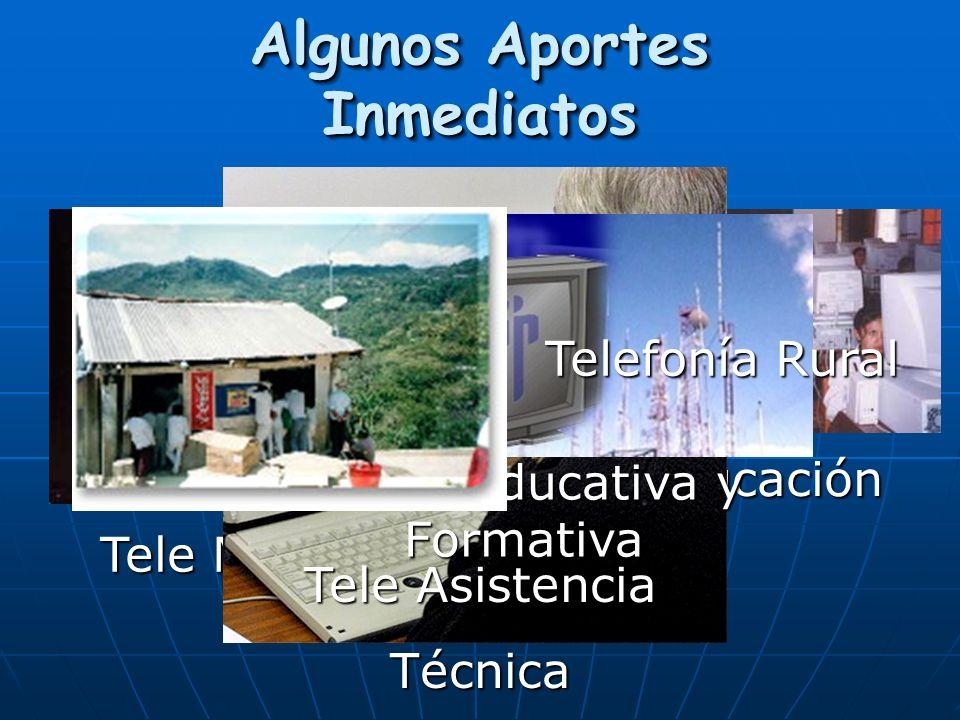 Algunos Aportes Inmediatos Tele Medicina Tele Educación Tele Asistencia Técnica Televisión Educativa y Formativa Telefonía Rural