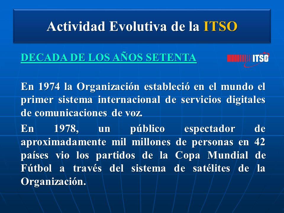Actividad Evolutiva de la ITSO DECADA DE LOS AÑOS SETENTA En 1974 la Organización estableció en el mundo el primer sistema internacional de servicios