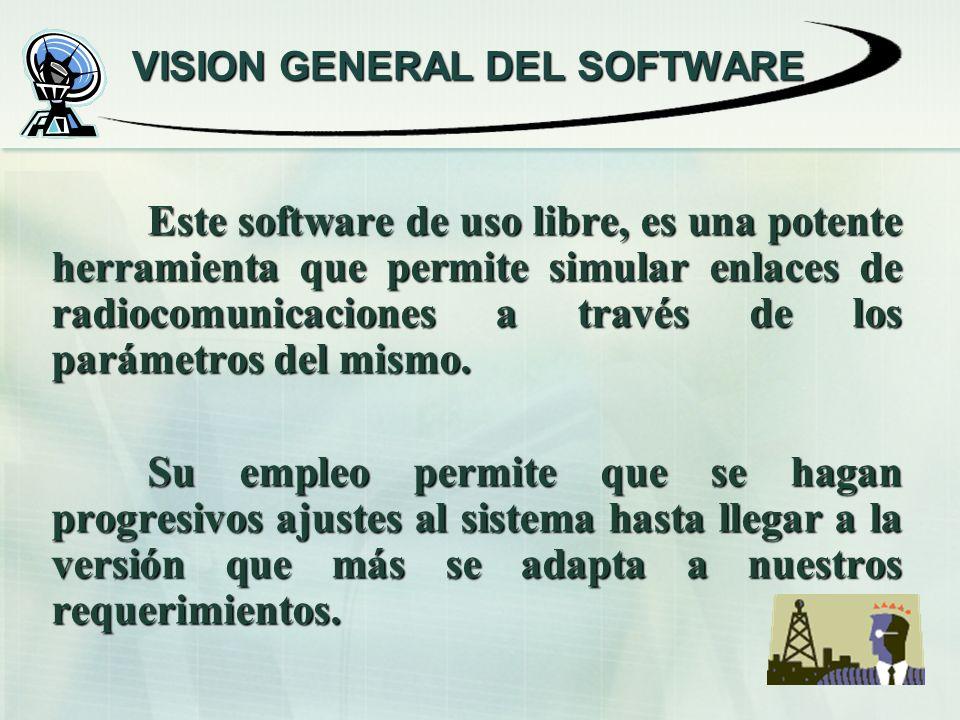 VISION GENERAL DEL SOFTWARE Este software de uso libre, es una potente herramienta que permite simular enlaces de radiocomunicaciones a través de los parámetros del mismo.