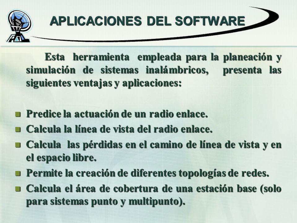 Esta herramienta empleada para la planeación y simulación de sistemas inalámbricos, presenta las siguientes ventajas y aplicaciones: Predice la actuación de un radio enlace.