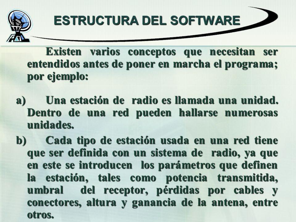 ESTRUCTURA DEL SOFTWARE Existen varios conceptos que necesitan ser entendidos antes de poner en marcha el programa; por ejemplo: a) Una estación de radio es llamada una unidad.