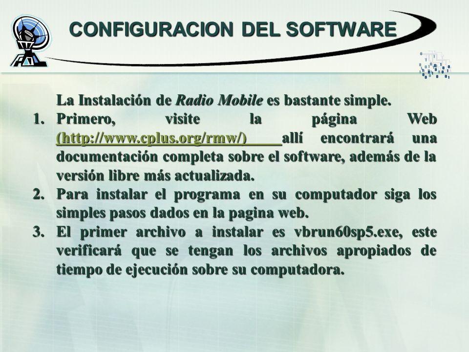 CONFIGURACION DEL SOFTWARE La Instalación de Radio Mobile es bastante simple.
