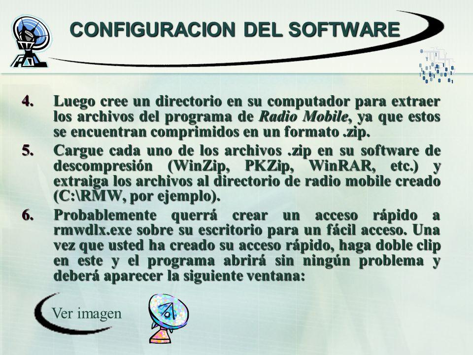 CONFIGURACION DEL SOFTWARE 4.Luego cree un directorio en su computador para extraer los archivos del programa de Radio Mobile, ya que estos se encuent