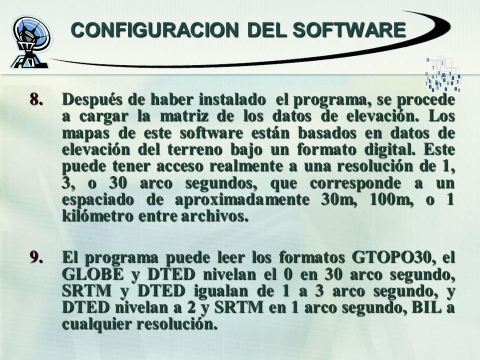 CONFIGURACION DEL SOFTWARE 8.Después de haber instalado el programa, se procede a cargar la matriz de los datos de elevación. Los mapas de este softwa