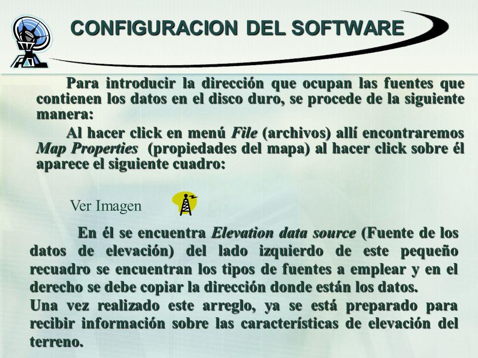 CONFIGURACION DEL SOFTWARE Para introducir la dirección que ocupan las fuentes que contienen los datos en el disco duro, se procede de la siguiente ma