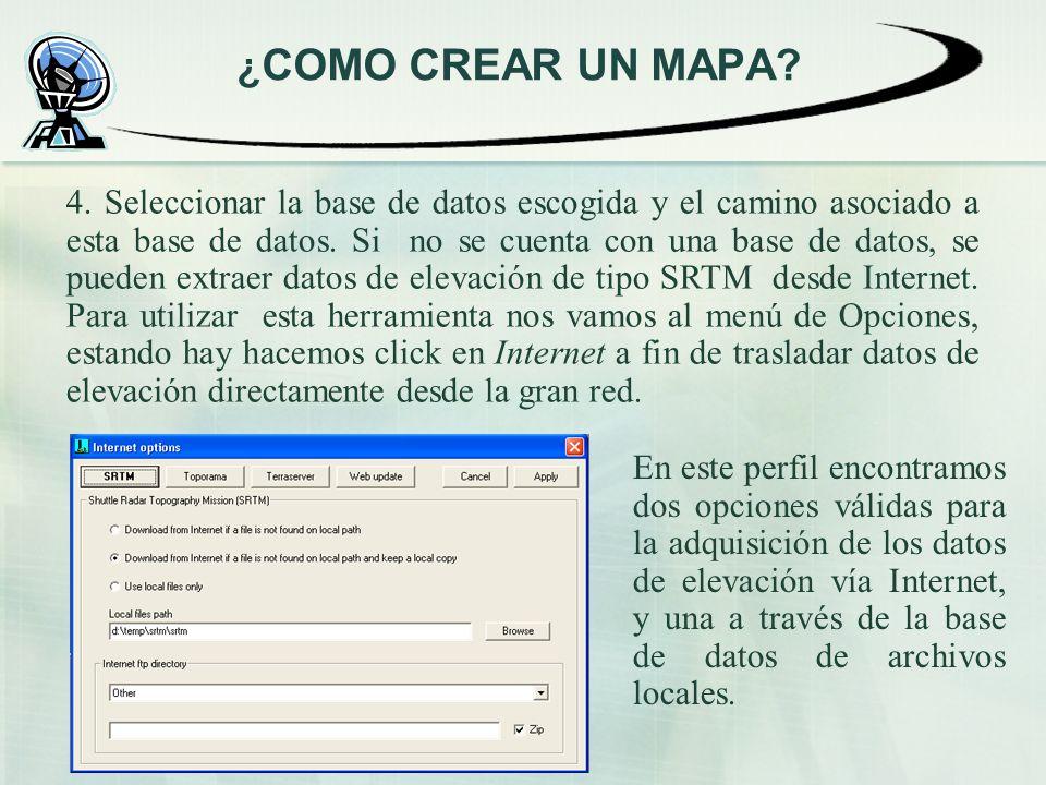 4. Seleccionar la base de datos escogida y el camino asociado a esta base de datos. Si no se cuenta con una base de datos, se pueden extraer datos de