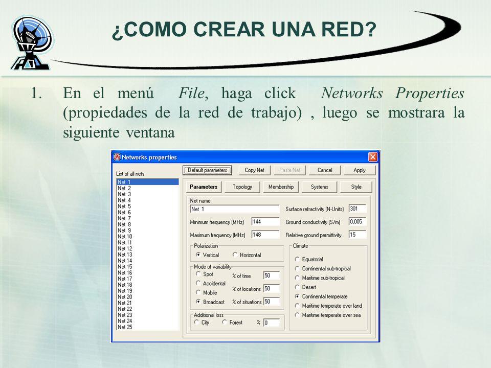 1.En el menú File, haga click Networks Properties (propiedades de la red de trabajo), luego se mostrara la siguiente ventana ¿COMO CREAR UNA RED?