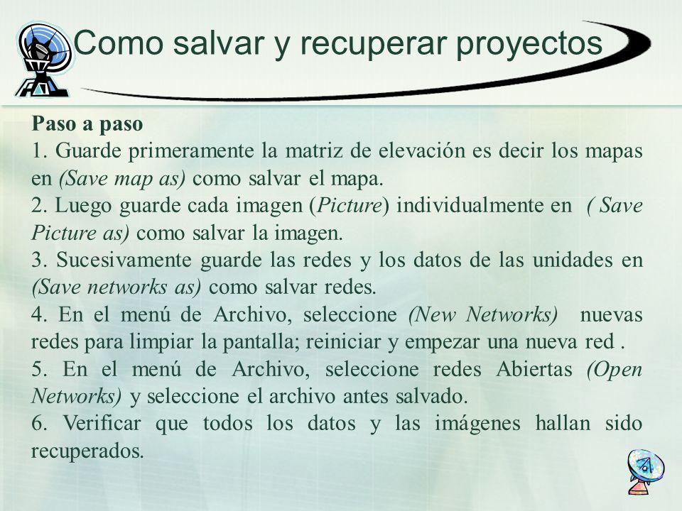 Como salvar y recuperar proyectos Paso a paso 1. Guarde primeramente la matriz de elevación es decir los mapas en (Save map as) como salvar el mapa. 2