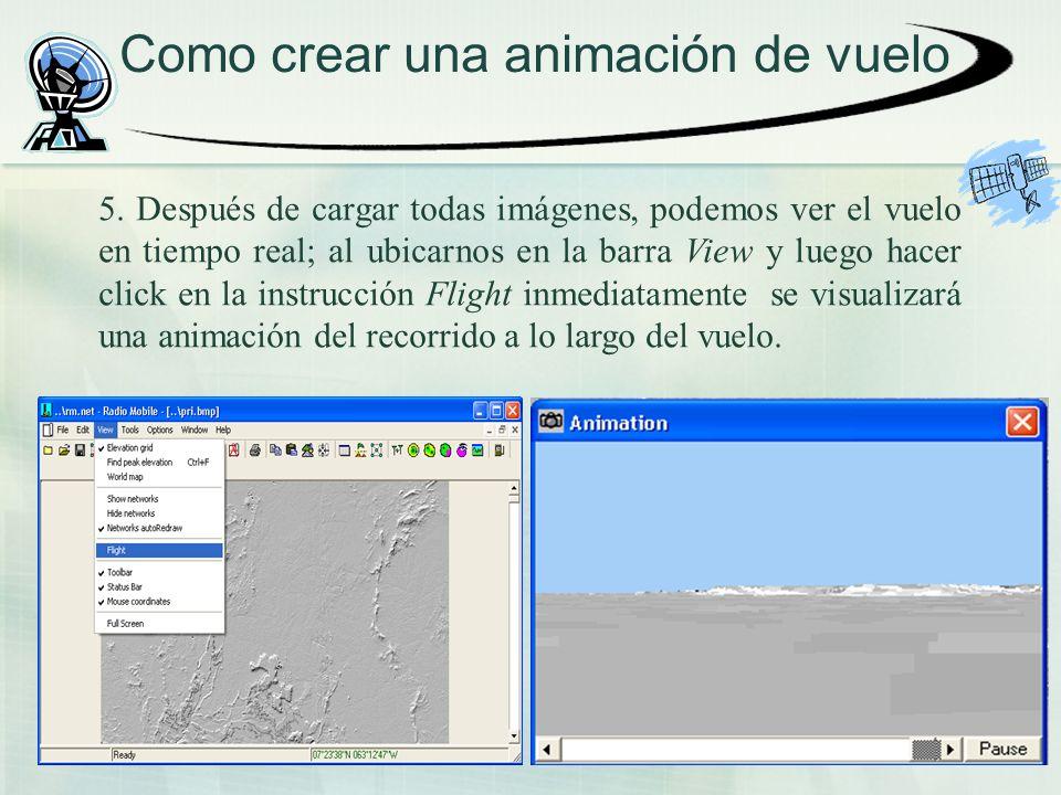 Como crear una animación de vuelo 5. Después de cargar todas imágenes, podemos ver el vuelo en tiempo real; al ubicarnos en la barra View y luego hace