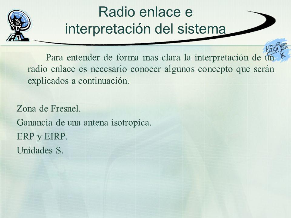 Radio enlace e interpretación del sistema Para entender de forma mas clara la interpretación de un radio enlace es necesario conocer algunos concepto