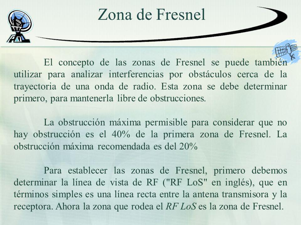 Zona de Fresnel El concepto de las zonas de Fresnel se puede también utilizar para analizar interferencias por obstáculos cerca de la trayectoria de u