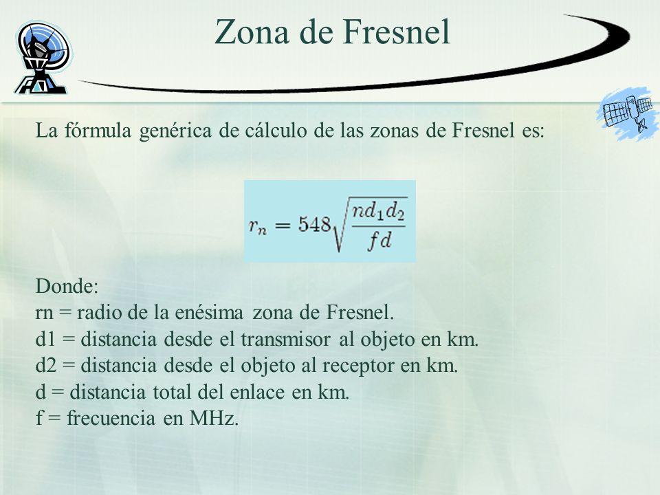 Zona de Fresnel La fórmula genérica de cálculo de las zonas de Fresnel es: Donde: rn = radio de la enésima zona de Fresnel. d1 = distancia desde el tr