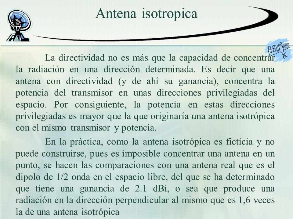Antena isotropica La directividad no es más que la capacidad de concentrar la radiación en una dirección determinada. Es decir que una antena con dire