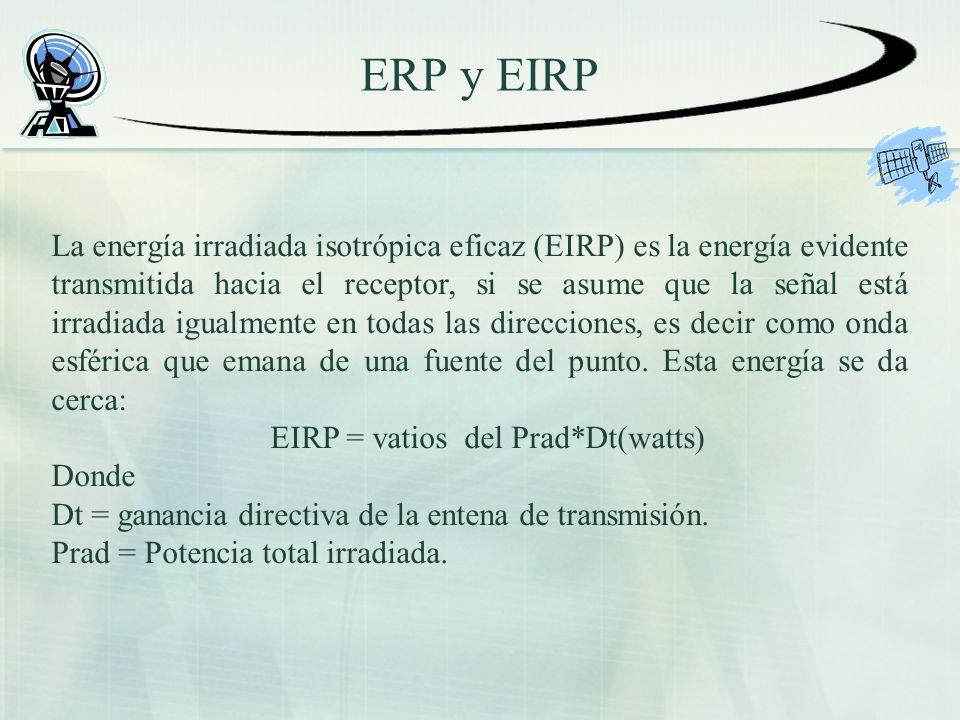 ERP y EIRP La energía irradiada isotrópica eficaz (EIRP) es la energía evidente transmitida hacia el receptor, si se asume que la señal está irradiada igualmente en todas las direcciones, es decir como onda esférica que emana de una fuente del punto.