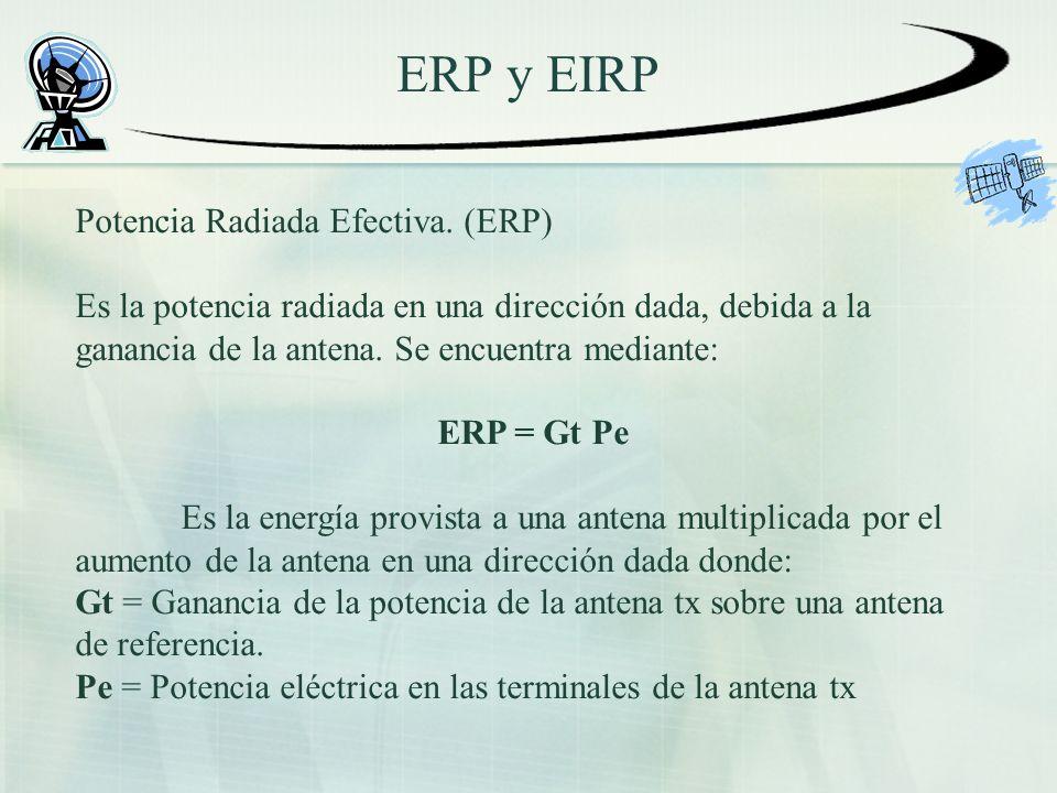 ERP y EIRP. Potencia Radiada Efectiva. (ERP) Es la potencia radiada en una dirección dada, debida a la ganancia de la antena. Se encuentra mediante: E
