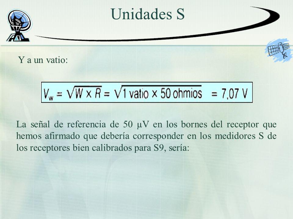 Unidades S Y a un vatio: La señal de referencia de 50 µV en los bornes del receptor que hemos afirmado que debería corresponder en los medidores S de los receptores bien calibrados para S9, sería: